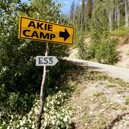 Sign to the Akie camp