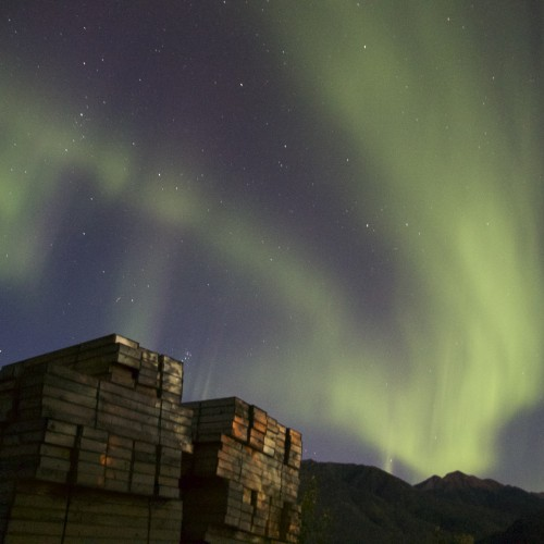 Northern lights over the Akie camp