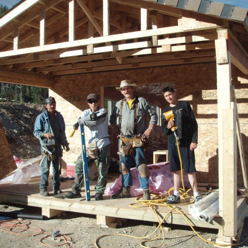 Construction crew from Kwadacha building the coreshack in 2007